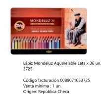 Lapices De Colores Koh-I-Noor Mondeluz x 36 Largos Acuarelables En Lata Cod. 089071053725