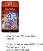 Lapices De Colores Koh-I-Noor Polycolor Art x 12 Largos En Lata Cod. 08907101382202