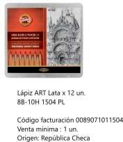 Lapiz Grafito Koh-I-Nor Art 8B Al 10H x 24 Unid. En Lata Cod. 089071011504
