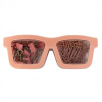 Set Pop Para Oficina Gafas 2 En 1 Clips + Broches Binder Color Rosa Cod. Pop082