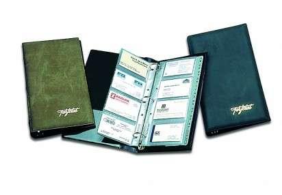 Portatarjeta Rab Alto Forrado En Tela Plastica Con Indice Con Aros 3 x 30 Mm. Para 80 Tarjetas Color Negro Cod. 308/30/N
