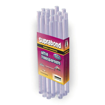 Barra De Silicona Suprabond Ultra Transparente 0,74 x 30 Cms. x 500 Grs. Aprox; 41 Unid. Fina. Cod. C HM F30 UT 41