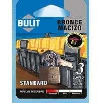 Candado Bulit Bronce Standard 20 Mm. Con 3 Llaves Blister Cod. Cdb Bs 20