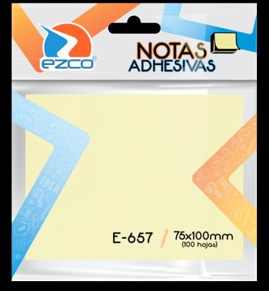 Notas Autoadhesivas Ezco   75 X 100 Mm X 100 Hojas - Amarillo Cod. 980657