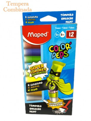 Tempera Maped Color Peps Tubo x  8 Ml. x 12 Unid. (6 Clasicos + 2 Metal + 4 Fluo) Cod. 826002