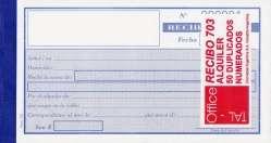 Talonario Taloffice 703 Recibo Alquiler 50 Jgs. Duplicado Cod.703