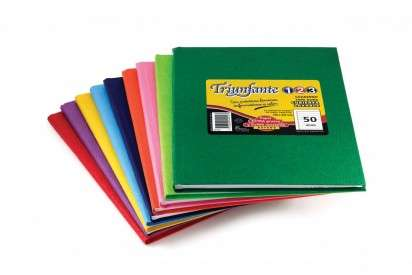 Cuaderno Triunfante 1 2 3 - 19 x 24 Tapa Carton Araña Rojo x  50 Hjs. Rayado - 90 G/M2. Cod. 448126