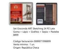 Lapices De Colores Koh-I-Noor Gioconda Set Art Sketching x 24 Unid. Lapiz Sepia+Grafito+Pastel En Lata Cod. 089071998899