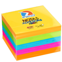 Notas Autoadhesivas Ezco E-725 75 X 75 Mm. Taco X 300 Hojas  5 Colores Neon (Rosa-verde-amarillo-naranja-celeste) Cod. 980725