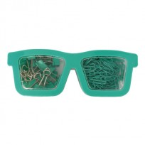 Set Pop Para Oficina Gafas 2 En 1 Clips + Broches Binder Color Verde Agua Cod. Pop083