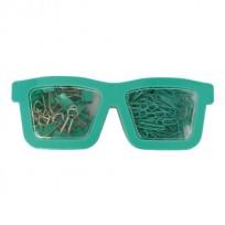 Set Pop Para Oficina Gafas 2 En 1 Clips + Broches Binder Color Verde Agua Cod. Pop083