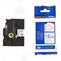 Cinta Brother TZe-FA3  Ropa Para Rotuladora PT-H100 12 Mm. Azul Sobre Cinta Blanca Cod.TZe-FA3