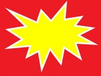 Cartel Para Precios CA Cartulina Fondo Rojo, Dibujo Amarillo, Contorno Blanco Medidas 6 Cm. X 8 Cm. Pack X 30 Unid. Cod. Exg-02
