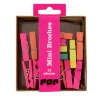 Mini Broche De Maderas Pop Caja X 15 Unid. Colores Fluo Surtidos Cod. Pop261