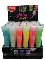 Adhesivo Maped Glue Peps Glitter x 50 Ml. Surtido Fluo x 6 Colores Display x 36 Unid. Cod. 812002