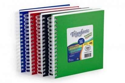 Cuaderno Triunfante A5 Con Espiral Tapa Carton Vinilica x 120 Hjs. Rayado - 90 G/M2 Cod. 443121
