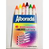 Marcador de Cera Alborada redondo Colores Fluo Surtidos  Caja x 6 unid. Cod.Mcr/fluo Surt