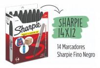 Marcador Permanente Sharpie Fino (0,9 Mm.) Negro  12 + 2 Gratis. Cod. 2102504