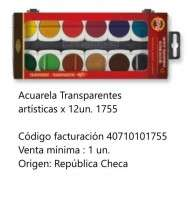 Acuarela Koh-I-Noor Artistica x 12 Pastillas Transparentes Cod. 40710101755
