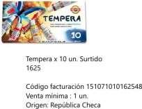 Tempera Koh-I-Noor x 10 Unid. 01625 Cod. 151071010162548