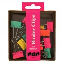 Broche Binder Pop 19 Mm. Caja X 12 Unid. Colores Fluo Surtidos Cod. Pop260