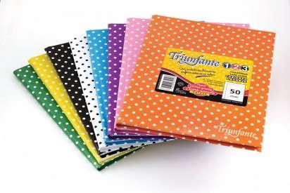 Cuaderno Triunfante 1 2 3 - 19 x 24 Tapa Carton Lunares Verde x 50 Hjs. Cuadriculado - 90 G/M2 Cod. 549229