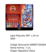 Lapices De Colores Koh-I-Noor Polycolor Art x 24 Largos En Lata Cod. 089071043824