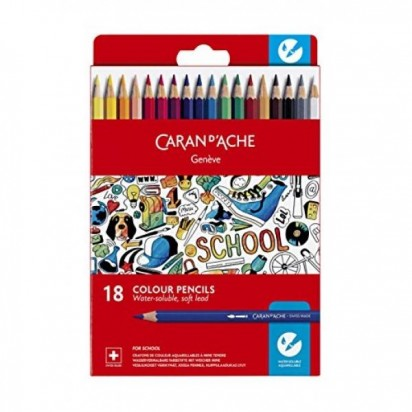 Lapices De Colores Caran Dache School Acuarelable X 18 1290-718 Cod. 089025291290718