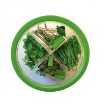 Set Pop Para Oficina Circular 4 En 1 Chiches Galera +Clips + Broches Binder Color Verde  Cod. Pop021