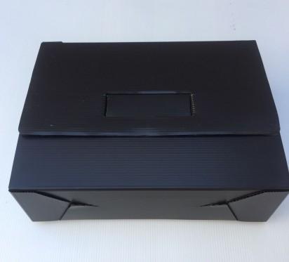 Caja Archivo Plastica Legajo 39 x 28 x 12 Cms. Negro Cierre Al Medio Sin Impresion x 25 Unid.Cod. 1808/N/B