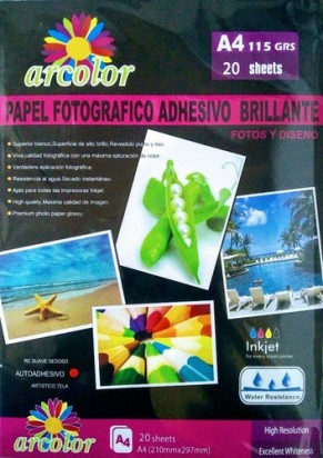 Papel Arcolor A4 Photo Glossy Con Adhesivo 115Grs. Paq.X20 Hjs. Cod. 22148
