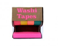 Cinta Adhesiva Pop Washi Tapes Dispenser X 4 Unid. 15 Mm X 5 Mt  Colores Fluo Cod. Pop075