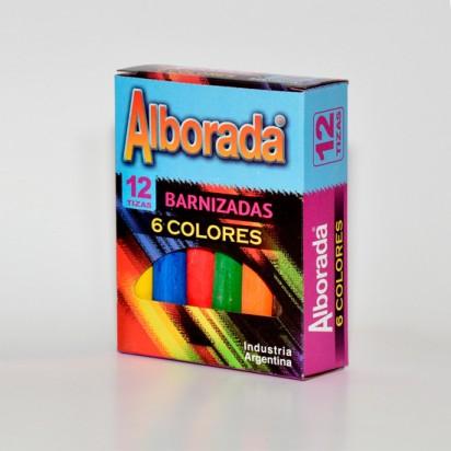 Tiza Alborada Color Barnizada 6 Colores Surtidos Caja x 12 Unid. Cod. Ticoab12