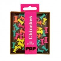 Chinches Pop Galera Caja X 50 Unid. Colores Fluo Surtidos Cod. Pop245