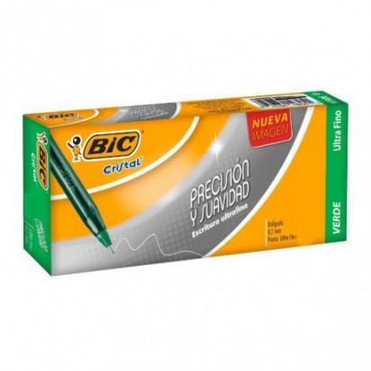 Boligrafo Bic 0.7 Mm. Ultrafina Verde x 25 Unid. Cod. 928717
