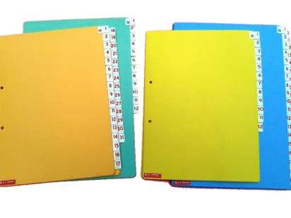 Indice Numerico G-A Nro. 481C Cartulina Para Bibliorato Oficio Del 1 Al 31 Visor Chico De PVC Cod.  481C