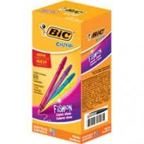 Boligrafo Bic 1.2 Mm. Cristal Fashion Colores Surtidos x 25 Unid. Cod. 950749