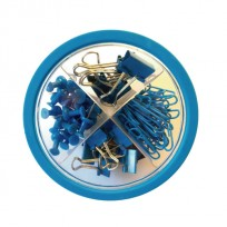 Set Pop Para Oficina Circular 4 En 1 Chiches Galera +Clips + Broches Binder Color Azul Cod. Pop020