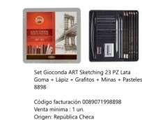 Lapices De Colores Koh-I-Noor Gioconda Set Art Sketching x 23 Unid. Lapiz Grafito+Minas+Pastel En Lata Cod. 089071998898