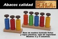 Abaco R.H.A. Base De Madera 5 Columnas Con Fichas Plasticas Grandes Cod.Abaco/5