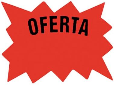 Cartel Para Precios CA Oferta .Cartulina Fondo Blanco, Dibujo Rojo, Letra Negra Medidas 7,5 Cm. X 10 Cm. Pack X 24 Unid. Cod. Em-02