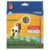 Lapices De Colores Lyra Groove Slim x 24 Largos + Sacapuntas Cod. 2821240
