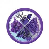 Set Pop Para Oficina Circular 4 En 1 Chiches Galera +Clips + Broches Binder Color Violeta  Cod. Pop019