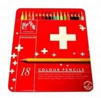 Lapices De Colores Caran Dache Swisscolor x 18 Largos Acuarelables En Lata Color Rojo 1285-718 Cod. 08902507718