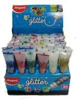 Adhesivo Maped Glue Peps Glitter x 50 Ml. Surtido x 6 Colores Display x 36 Unid. Cod. 812001