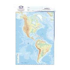 Mapa Mundo Cartografico Nro. 5 Cte.Americano Fisico-Politico Bolsa X 20 Unid. Cod. D-002-Fp