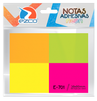 Notas Autoadhesivas Ezco E-701 38 X 50 Mm X 50 Hojas  x 4 Unid. Colores Neon (Rosa-verde-amarillo-naranja) Cod. 980701