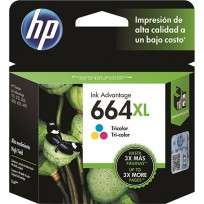 Cartucho Hewlett Packard 664 XL (F6V30AL) Tricolor Alto Rendimiento 8 Ml. P/Deskjet 2135/3635/3835/4535/4675 Cod. Ci-Hp-6V3000
