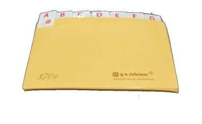 Indice G-A Nro. 370C A-Z Cartulina Visor Chico De 18 Letras De 12.5 x 7.5 Cms. Cod. 370C