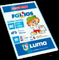 Folio Luma Polipropileno Extra Cristal Escolar Comercial 50 Micrones x  10 Unid. Cod. 31-24